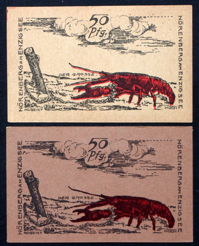 "NÖRENBERG 1921 ""The Big One"" enormous red lobster! 2 variants German Notgeld Poland"