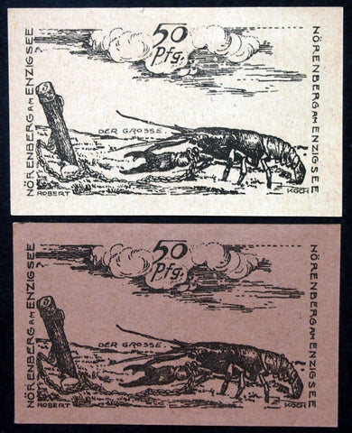 "NÖRENBERG 1920 w/1922 date stamp ""The Big One (Lobster)"" German Notgeld two variants"