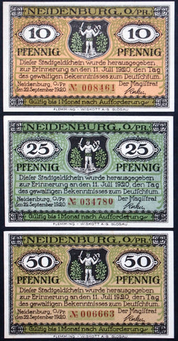 NEIDENBURG 1920 complete red serial series German Notgeld East Prussia