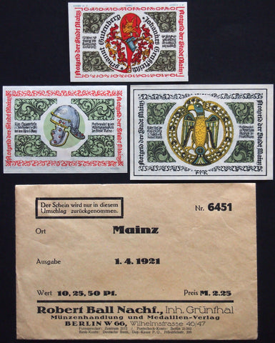 "MAINZ 1921 ""Roman Helmet"" complete in Robert Ball envelope! Germany Notgeld"