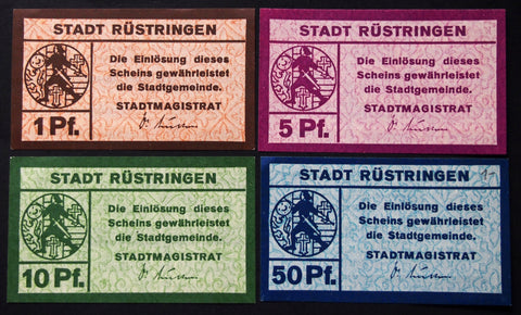 RÜSTRINGEN 1917 complete set circulating Notgeld Germany