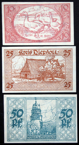 "DIEPHOLZ 1920 rarer ""Jänecke"" printer firm complete series German Notgeld"
