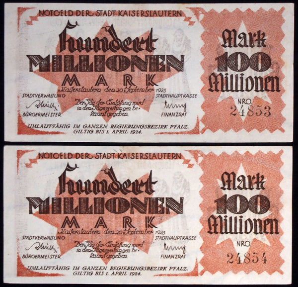 "2pcs consecutive! KAISERSLAUTERN 1923 ""Women Shamed w/Millstones"" 100 Million Mk"