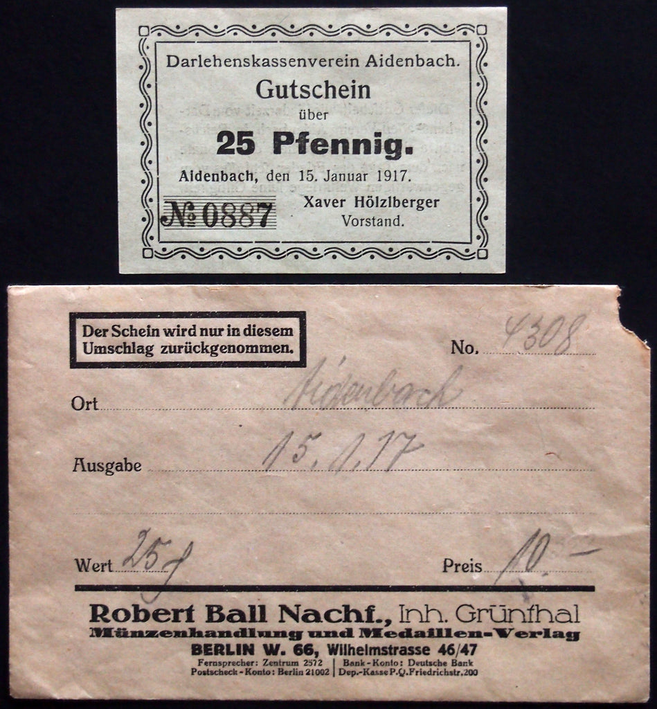 AIDENBACH 1917 25 Pf in RARE Robert Ball envelope! German Notgeld Bavaria