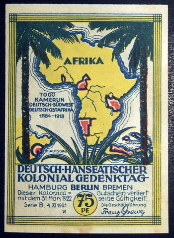 Rare Misprint: BERLIN 1921 *WRONG PICTURE* African Colonies UNC Notgeld Germany
