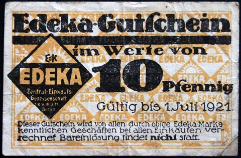 "BERLIN 1921 ""Edeka"" w/rare Colonial Goods Dealer's Stamp 10 Pf Notgeld Germany"