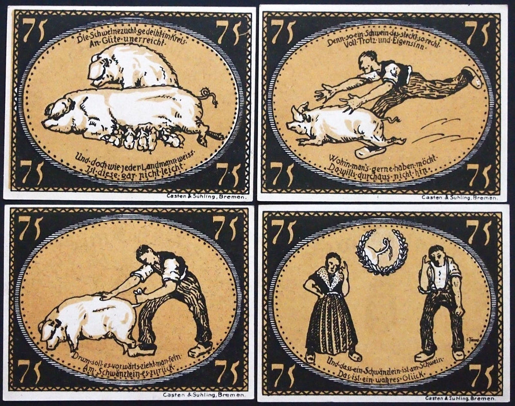 "DIEPHOLZ 1921 ""On the Usefulness of the Pig's Tail"" complete series B Notgeld"