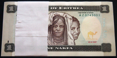 ERITREA 1997 REPLACEMENT Note UNC 1pc from Bundle! 1 Nakfa P-1 AZ Prefix Africa