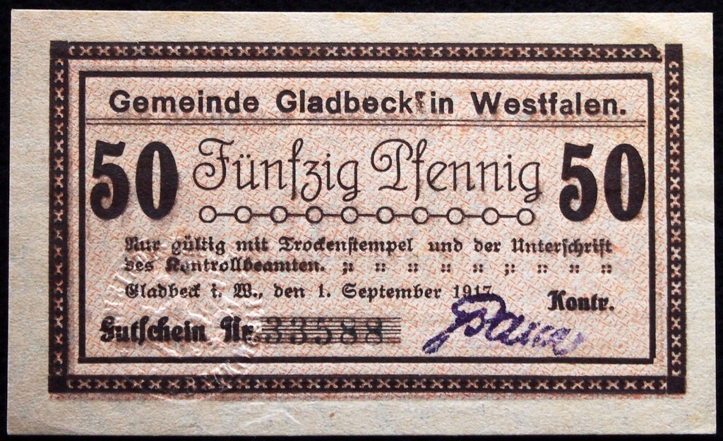 GLADBECK 1917 rare 50 Pf w/raised seal circulating German Notgeld