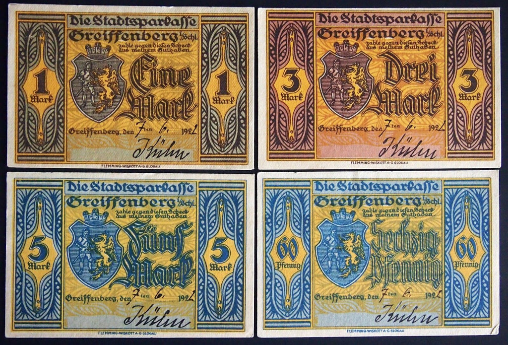4pcs GREIFFENBERG 1922 rare hand-dated, hand-signed German Notgeld