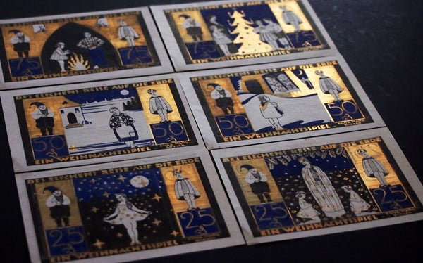 "LANGELN 1921 ""Gold Christmas Series"" Elves/Dwarves Brothers Grimm Notgeld German"