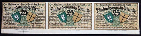 "3pcs *UNCUT SPECIMENS* LYCK 1920 25 Pf ""Flooding the Banks"" Notgeld Germany"