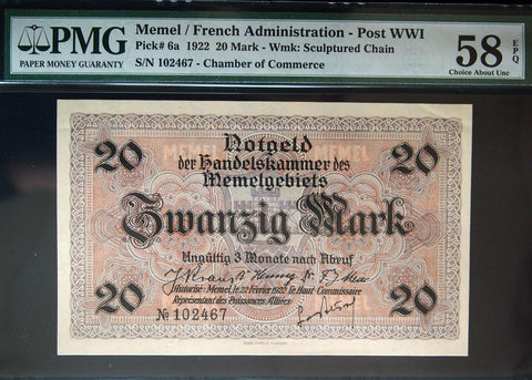 MEMEL 1922 20 Mark banknote graded PMG 58 EPQ P-6a high-grade rarity German/Fr.