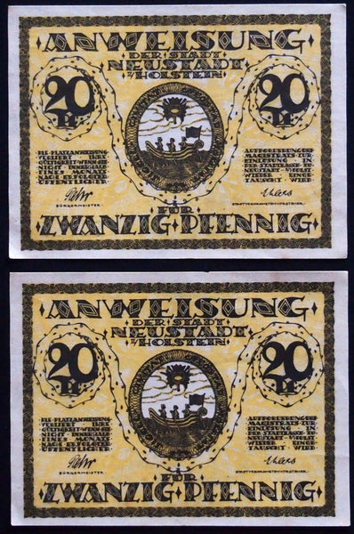 2pcs consecutive NEUSTADT in HOLSTEIN 1920 20 Pf circulating Notgeld Germany