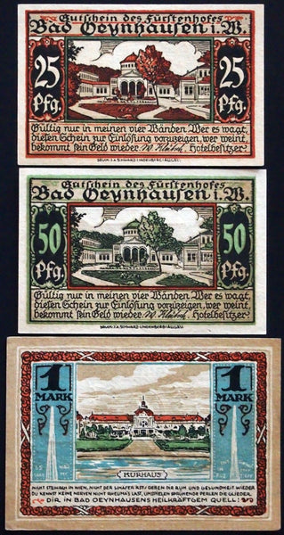 "BAD OEYNHAUSEN 1921/22 ""Hotel Fürstenhof"" hilarious complete set Notgeld Germany"