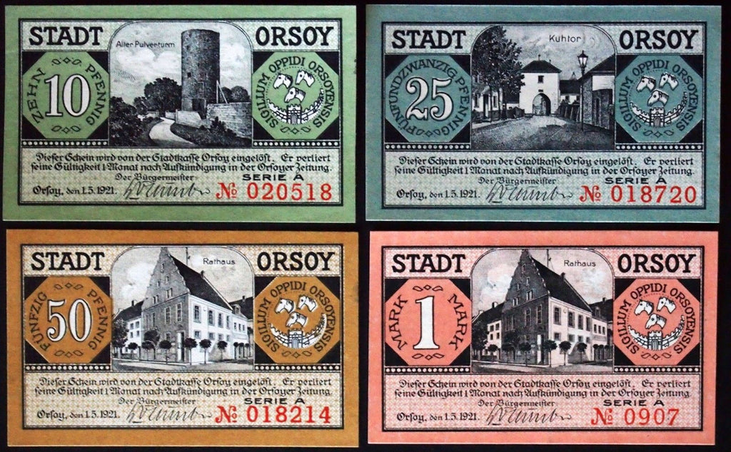 ORSOY 1921 complete w/VERY RARE 1 Mark note!! Notgeld Germany