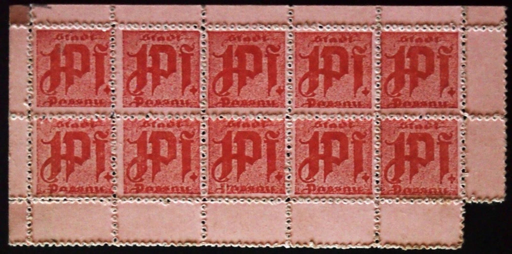 PASSAU complete uncut perforated sheet 10pcs 1 Pf Notgeld Germany Bavaria