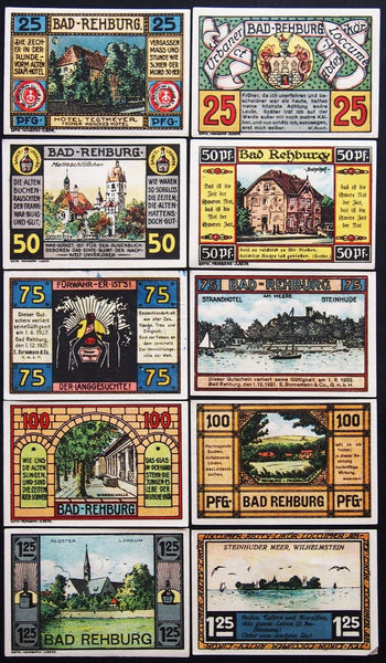 "BAD REHBURG 1921 ""Sanct Urbaner Liquor"" very rare complete set! Germany Notgeld"