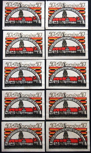 "SCHÖPPENSTEDT 1921 ""Black, Red, Gold"" complete series Germany Notgeld"