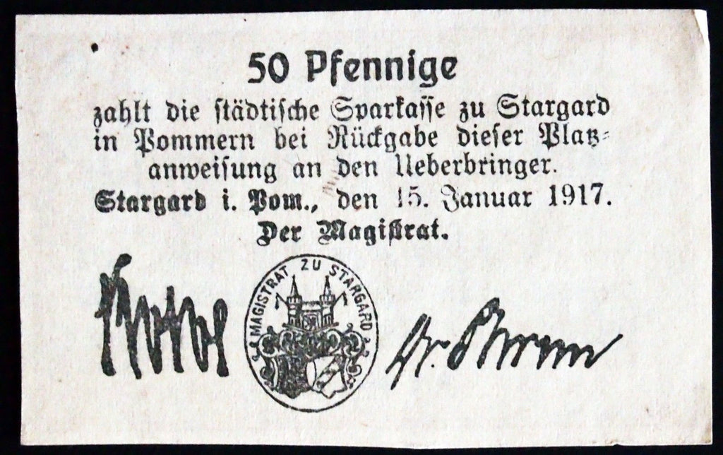 STARGARD 1917 50 Pf First Issue rare circulating note Notgeld Germany Pommern