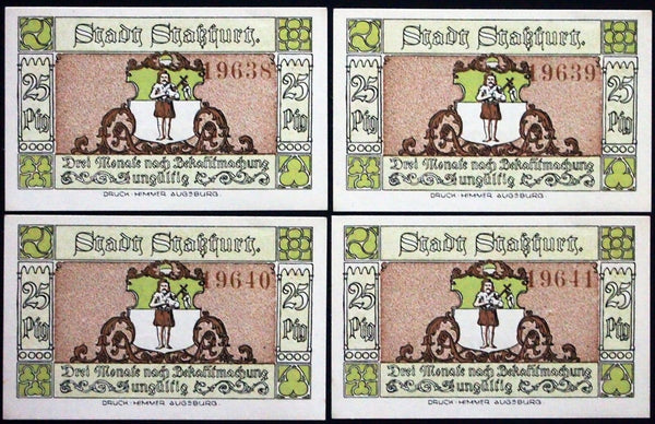 "4pcs STASSFURT ""Miners' Lunch Break"" 4 consecutive notes!! Notgeld Germany"