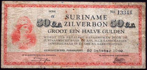 SURINAME 1940 1/2 Gulden Zilverbon Silver Certificate P-104 Dutch Colony WWII