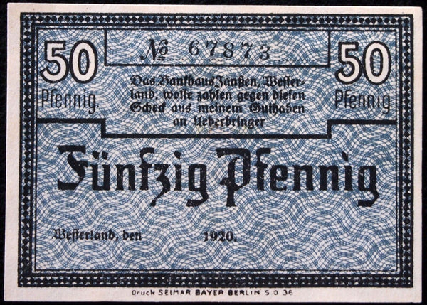 "WESTERLAND on the Island SYLT 1920 ""Bankhaus Janssen"" 50 Pf German Notgeld"