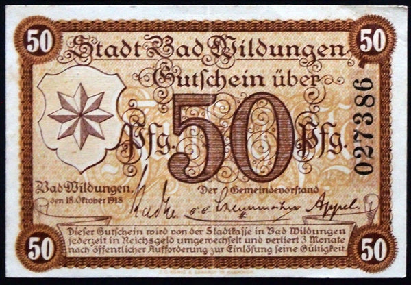 "BAD WILDUNGEN 1918 ""Praise and Thanks to the Almighty"" 50 Pf Notgeld Germany"