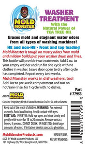 Back label of washer treatment bottle.