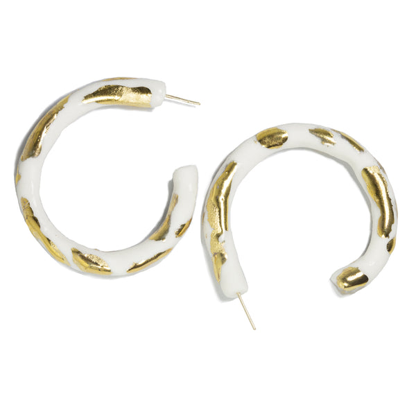 Fine Porcelain & Gold Hoops