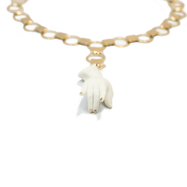 White and Gold Porcelain Hand Sculpture Choker Necklace Close Up