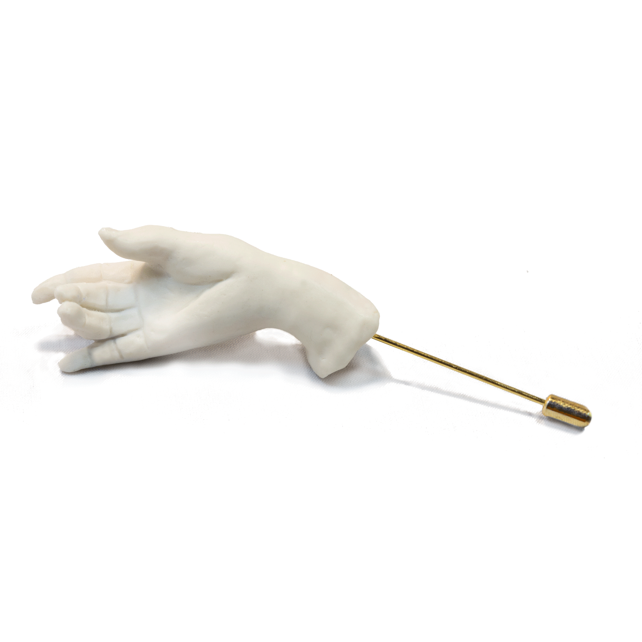 Sculptural Porcelain Hand Pin Brooch