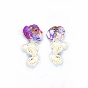 Koyu Painted Flower Earrings with Gold