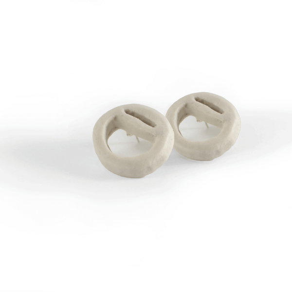 "Porcelain Shape ""O"" Stud Earrings"