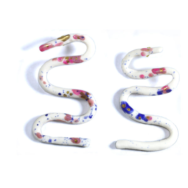 Painted Ripple Porcelain Earrings
