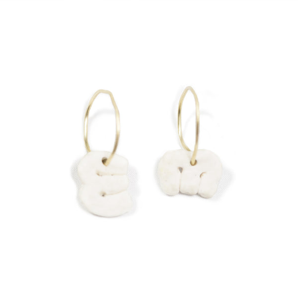 Small Porcelain Motif Hoops