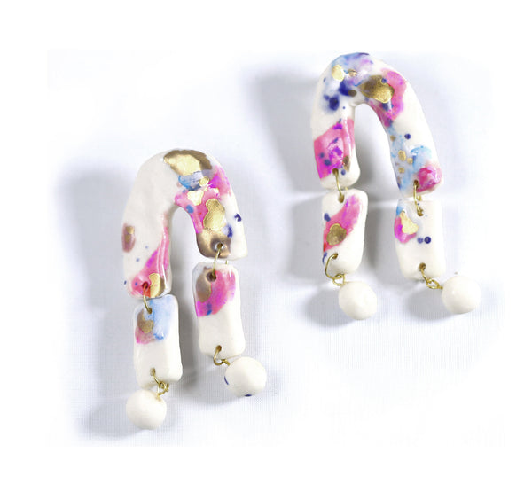 Painted Vector Porcelain Earrings