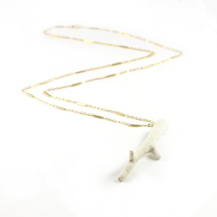 White porcelain pendant necklace