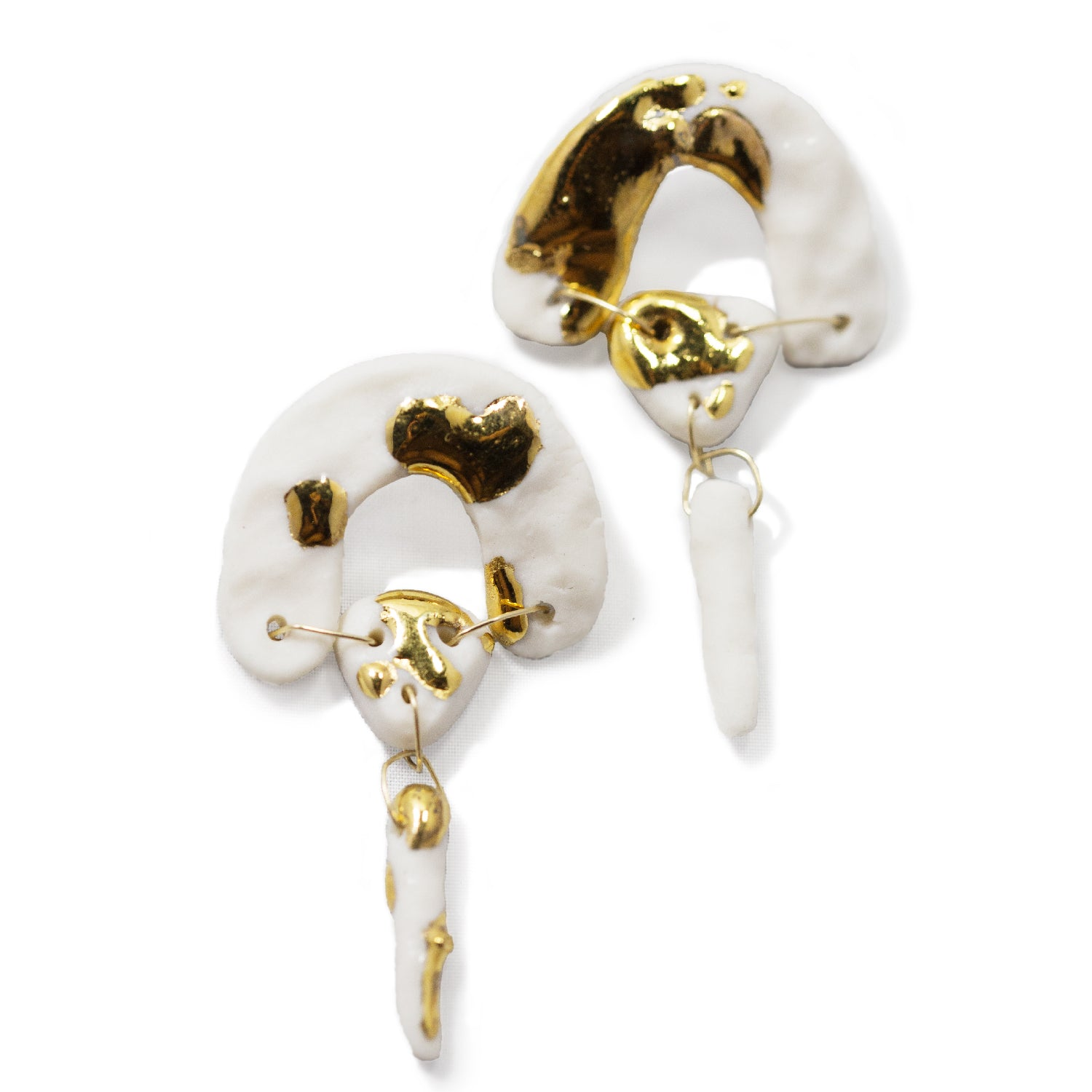 Gold Eclipse Porcelain Earrings