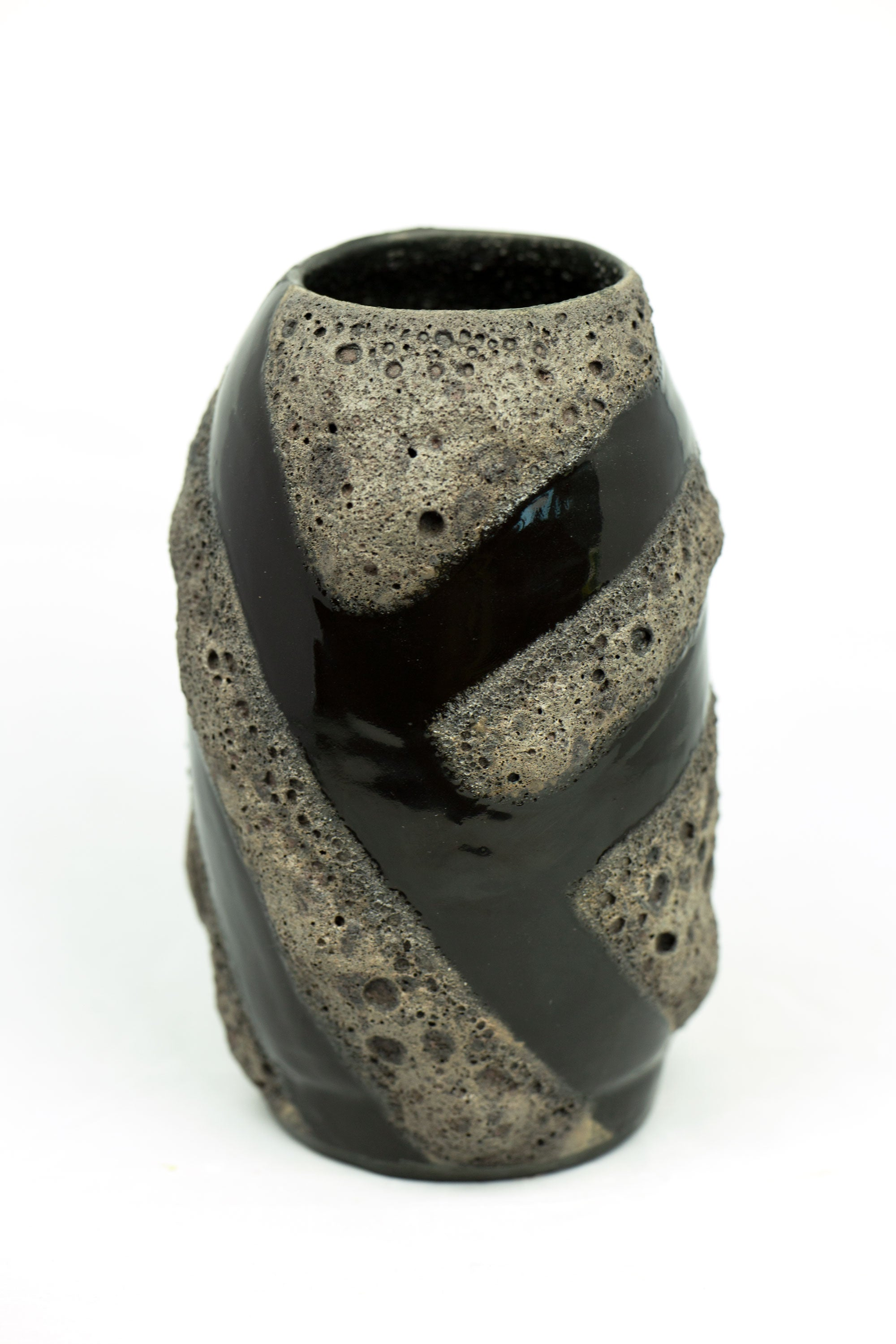 Black Lava Laze on Porcelain Vessel (SOLD)