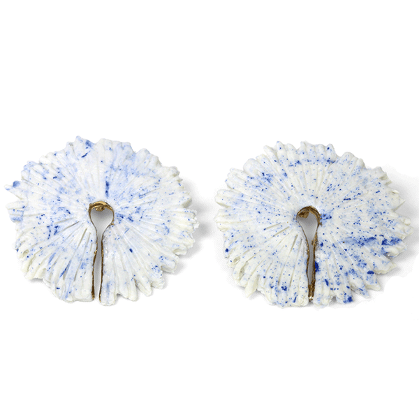 White and Gold Porcelain Statement Earrings