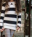 Noir et Blanc Long Sleeve Tunic