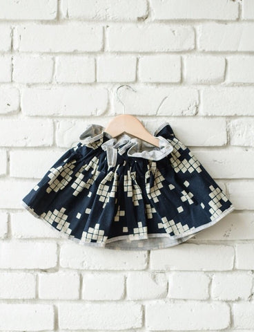 Navy Diamond Paper Bag Skirt