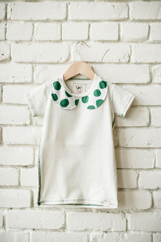 Green Dot Collar Tee
