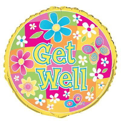 Get Well Color Flowers Foil Balloon - Sakura Toyland, Inc
