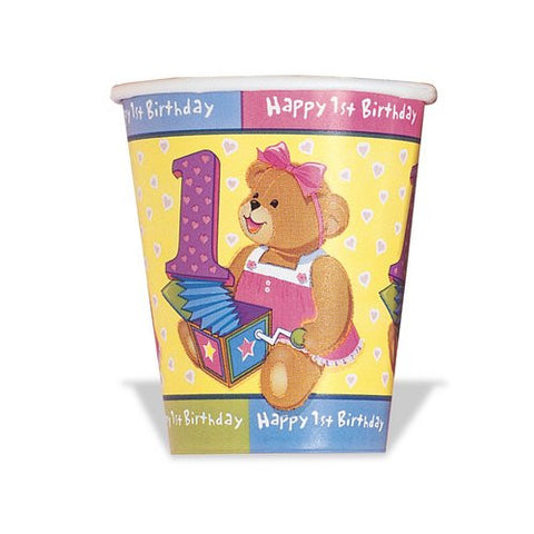 Girls First Birthday 9oz. Cups, 8ct.