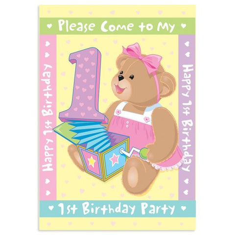 Girls First Birthday Invitations, 8ct.
