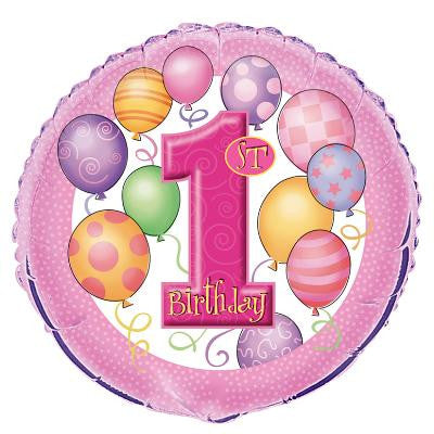 1st Birthday Pink Foil Balloon - Sakura Toyland, Inc