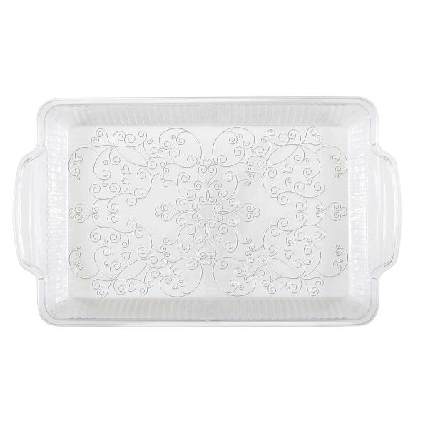 "Clear Plastic Serving Tray, 12"" x 8"""