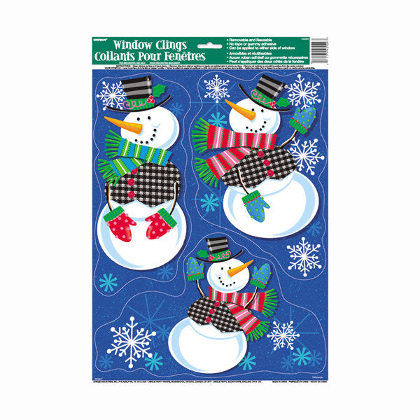 Jolly Snowman Holiday Window Clings